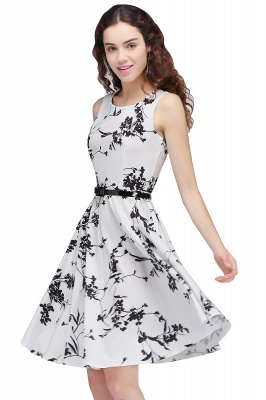 Sleeveless Belted Floral Printed Short Dress_23