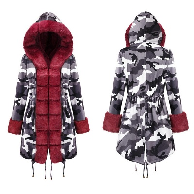 Camo Military Fur Lined Parka Coat with Faux Fur Hood_21