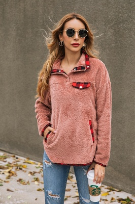 Women's Fall Winter Halp Zip Fuzzy Pullovers_11