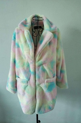 Yellow Stick Up Neckline Medium Long Fuzzy Coat_1