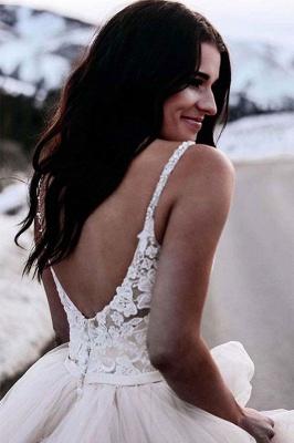 Glamorous Ruched Floor-Length Tulle Sleeveless V-neck Wedding Dresses_3