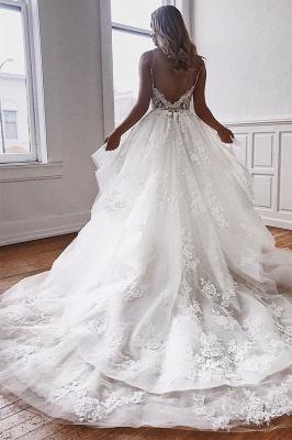 Glamorous Spaghetti-Straps Lace Appliques A-Line Wedding Dresses_2