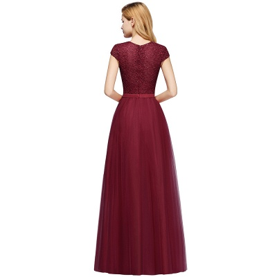 Cheap A-line Jewel Tulle Lace Bridesmaid Dress in Stock_12