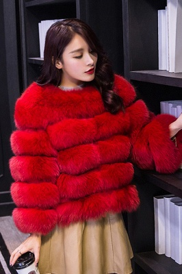 Tiered Fox Fur Coat with Full Fur Collar and Cuffs_24
