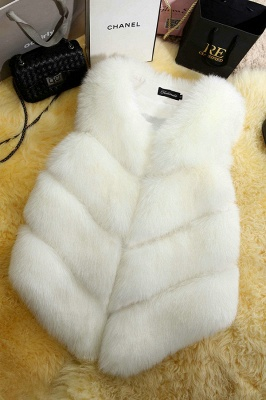 Grey Collarless Layered Fox Fur Gilet_2