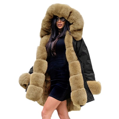 Premium Fur Trimmed Parka Coat with Faux Fur Hood_41
