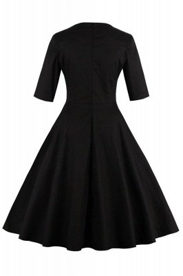 Vintage 1/2 Sleeve Wintersweet Embroidery Black Swing Dress_21