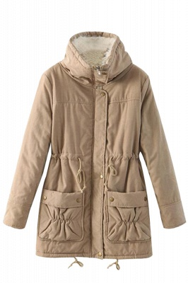 Women's Fashion Hunt Lamb Wool Collar Parka Coat_18
