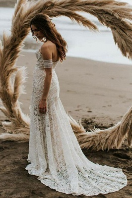 Sweep-Train Mermaid Lace Strapless Sweetheart Backless Wedding Dress_3