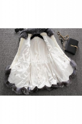 Women's Fashion Hooded White Fox Fur Coat_17