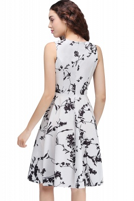 Sleeveless Belted Floral Printed Short Dress_20