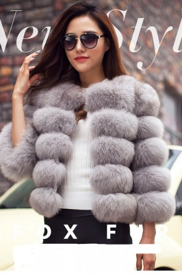 Tiered Fox Fur Coat with Full Fur Collar and Cuffs_31