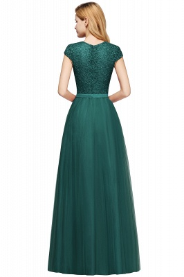 Cheap A-line Jewel Tulle Lace Bridesmaid Dress in Stock_16