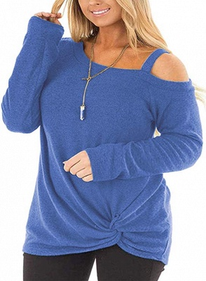 Colorful Cold Shoulder Ruffled Knot Blouse Sweatshirts with Sleeves_4