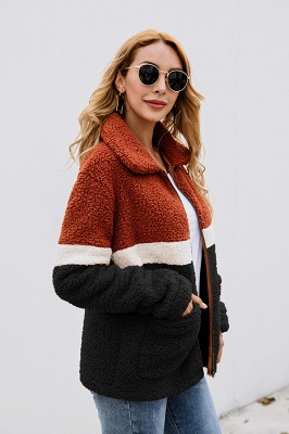 Women's Winter Multi Color Patchwork Faux Shearling Coat_11