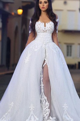 Princess Ball Gown Wedding Dresses | Glamorous White Appliques Bridal Gowns  with Overskirt_3