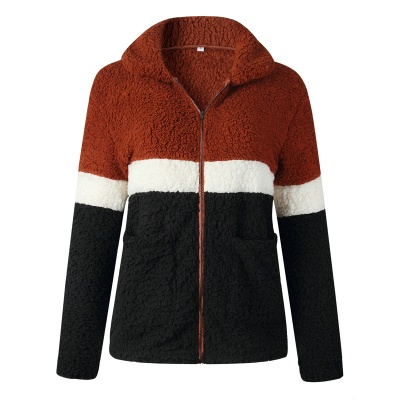 Women's Winter Multi Color Patchwork Faux Shearling Coat_1