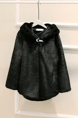 Black Cape Type Hooded Faux Fur Coat_3