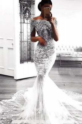 Sexy Long Sleeves Wedding Dresses | Mermaid Appliques Bridal Gowns_2
