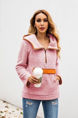 Women's Fall Winter Halp Zip Fuzzy Pullovers With Pockets_19