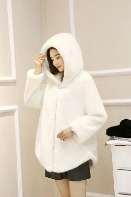 Black Cape Type Hooded Faux Fur Coat_10