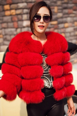 Tiered Fox Fur Coat with Full Fur Collar and Cuffs_21