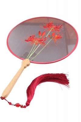 Chinese Retro Hand-Stitched Decoration Circular Fan With Hand Tassels_1