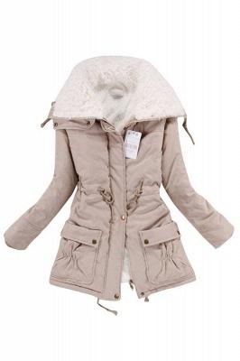 Women's Fashion Hunt Lamb Wool Collar Parka Coat_2