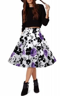 Retro A-line Floral?Printed Short Skirt_17