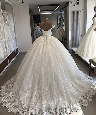 Charming Sweep Train Off the Shoulder Sweetheart Ball Gown Tulle Lace Wedding Dresses_2