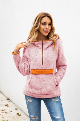 Women's Fall Winter Halp Zip Fuzzy Pullovers With Pockets_18