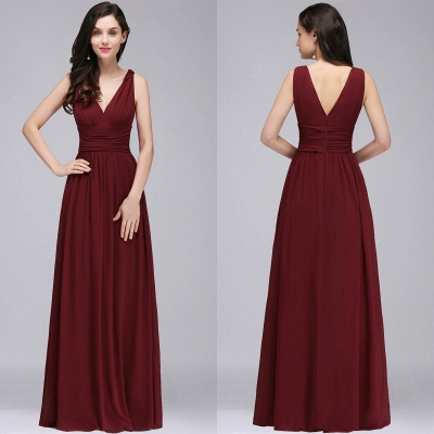 V-Neck Burgundy Ruched  A-line Evening Dresses_9