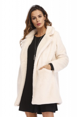 Yellow Stick Up Neckline Medium Long Fuzzy Coat_55
