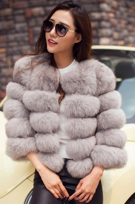 Tiered Fox Fur Coat with Full Fur Collar and Cuffs_10
