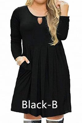 Plus Size Keyhole Neckline Simple Knee Length Dresses with Pockets_2