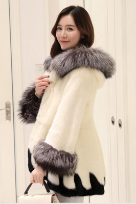 Women's Fashion Hooded White Fox Fur Coat_6