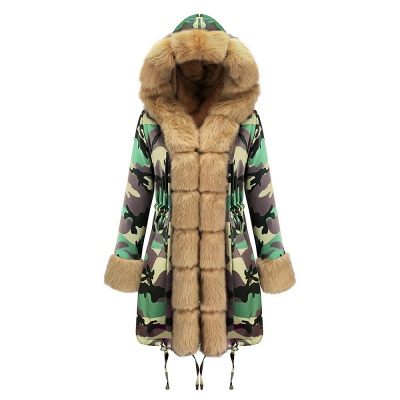 Camo Military Premium Fur Trim Parka Coat with Faux Fur Hood_33