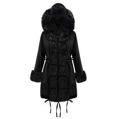 Premium Fur Trimmed Parka Coat with Faux Fur Hood_29