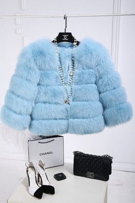 Tiered Fox Fur Coat with Full Fur Collar and Cuffs_6