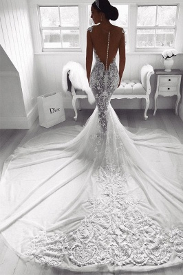 Sexy Lace Mermaid Wedding Dresses | See-Through Cap Sleeves Bridal Gowns_3