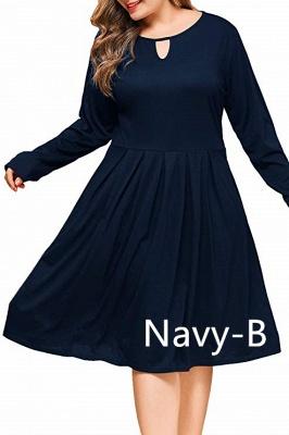 Plus Size Keyhole Neckline Simple Knee Length Dresses with Pockets_7