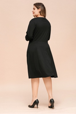 Keyhole Neckline Long Sleeves Plus Size Knee Length Casual Dresses_2
