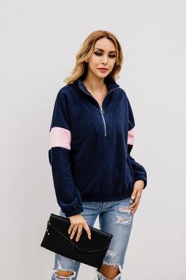 Women's Winter Patchwork Halp Zip Fuzzy Pullovers_4