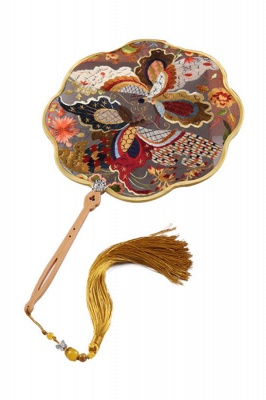 Chinese Traditional Double-Sided Hand-Embroidered Round Fan With Hand Tassels_1