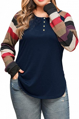 Striped Sleeves Buttoned Slim Fit Plus Size Women's Shirts_4