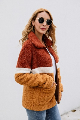 Women's Winter Multi Color Patchwork Faux Shearling Coat_5