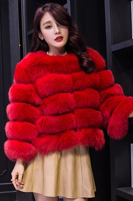 Tiered Fox Fur Coat with Full Fur Collar and Cuffs_3