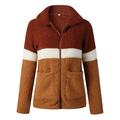 Women's Winter Multi Color Patchwork Faux Shearling Coat_3