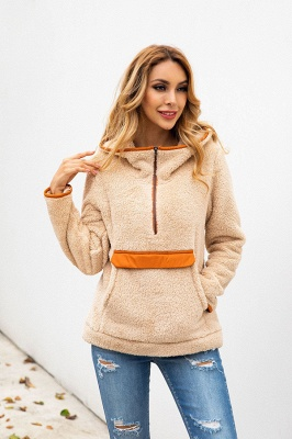 Women's Fall Winter Halp Zip Fuzzy Pullovers With Pockets_5
