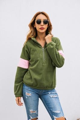 Women's Winter Patchwork Halp Zip Fuzzy Pullovers_13